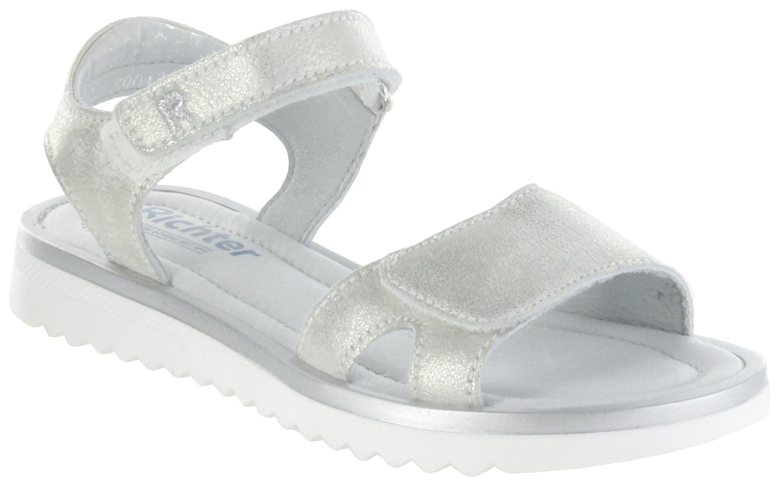 billig zu verkaufen Beamten wählen der Verkauf von Schuhen Richter Kinder Sandaletten silber Metallicleder Klett Mädchen Schuhe  5904-341-1800 platin Emma