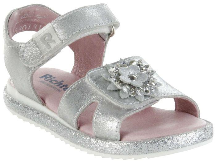 Richter Kinder Sandaletten silber Metallicleder Mädchen Schuhe 5301-341-0200 Romea