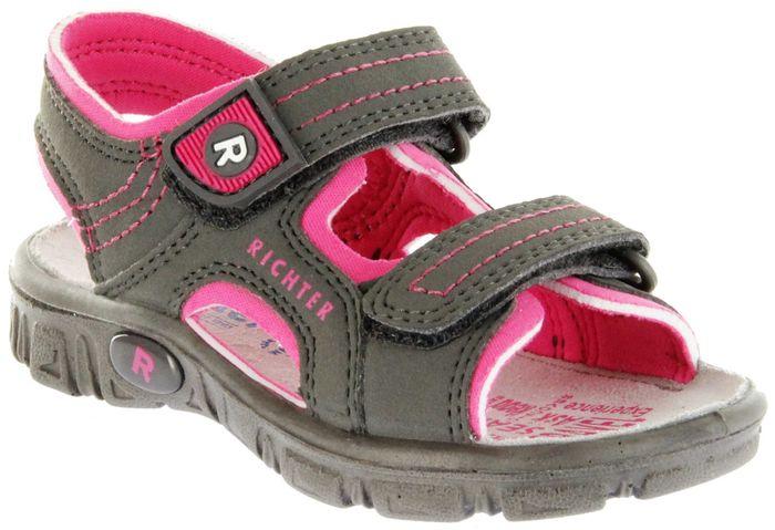 Richter Kinder Sandaletten Outdoor grau Lederdeck Mädchen 8101-341-6612 pebble Adventure