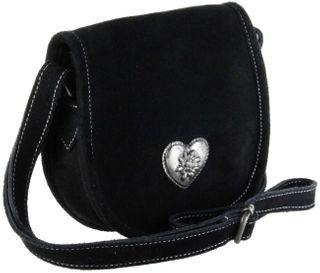 Bergheimer Trachten Damen Rindsvelourleder Umhänge-Trachtentasche ANNI schwarz – Bild 1