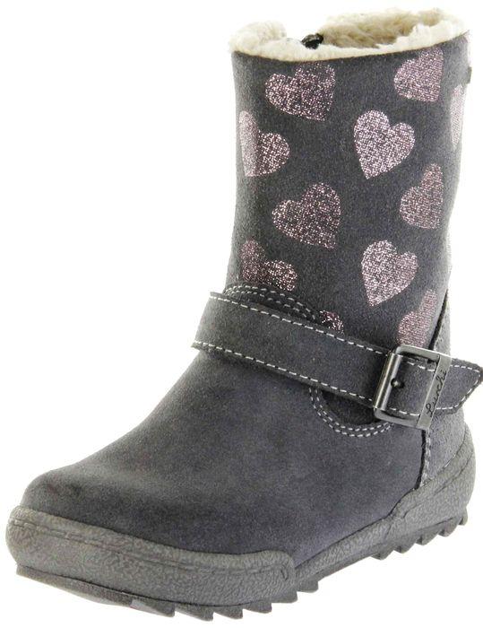 Lurchi Kinder Stiefel grau Velourleder Mädchen Schuhe 33-14627-25 charcoal LUNI-TEX
