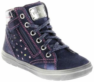 Richter Kinder Halbschuhe Blinkies Sneaker blau Velourleder Mädchen Schuhe 4449-441-7201 atlantic Ilva – Bild 1
