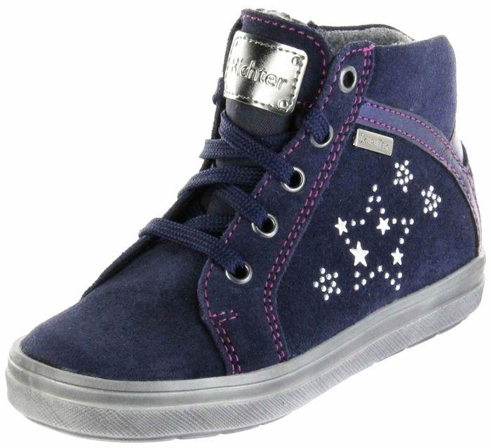 Richter Kinder Halbschuhe Sneaker blau Velourleder Warm Mädchen Schuhe SympaTex 4447-442-7202 atlantic Ilva
