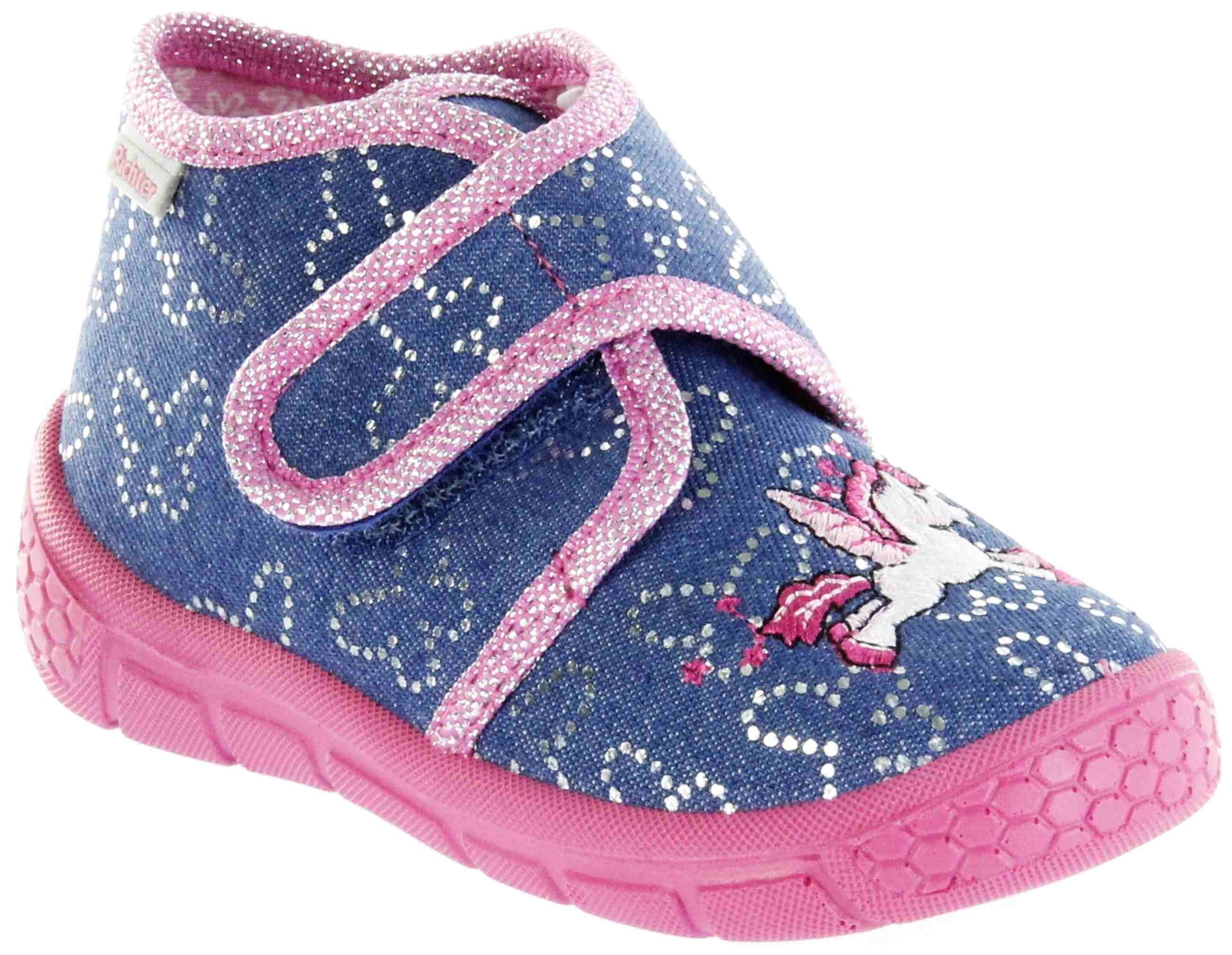 new product b2307 5888d Richter Kinder Hausschuhe blau Mädchen Schuhe 5641-443-7200 atlantic Unicorn