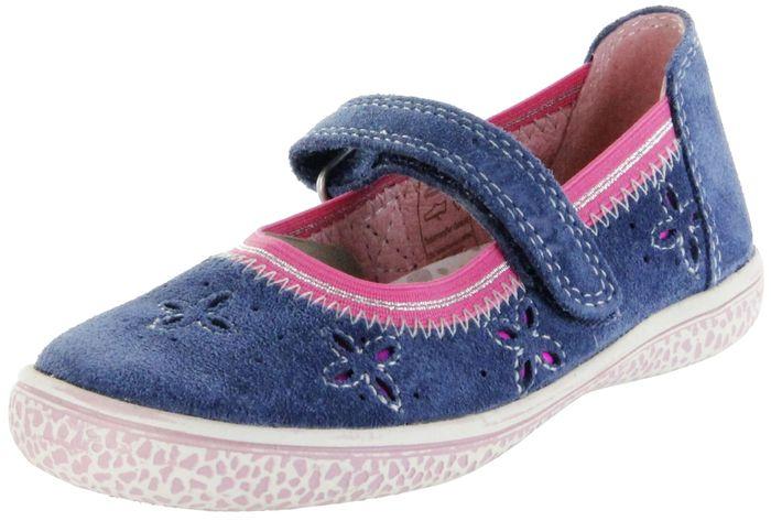 Lurchi Kinder Ballerinas blau Velourleder Lederdeck Mädchen Schuhe 33-15286-22 Jeans Tiffi