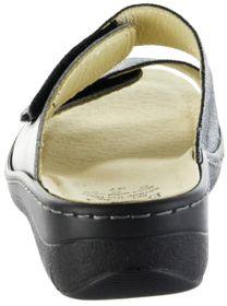 Belvida Wohlfühl-Pantoletten grau Leder Wechselfußbett rutschhemmende Sohle Klett Damen Schuhe 42.202 cosmos – Bild 3