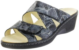 Belvida Wohlfühl-Pantoletten blau Leder Wechselfußbett rutschhemmende Sohle Klett Damen Schuhe 44.229 – Bild 1