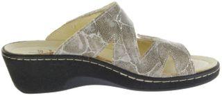 Belvida Wohlfühl-Pantoletten beige Leder Wechselfußbett rutschhemmende Sohle Klett Damen Schuhe 44.229  – Bild 5