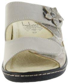 Belvida Wohlfühl-Pantoletten braun Leder Wechselfußbett rutschhemmende Sohle Klett Damen Schuhe 42.498 – Bild 6