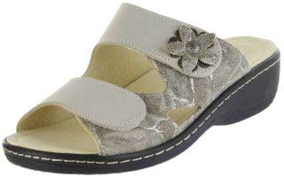 Belvida Wohlfühl-Pantoletten braun Leder Wechselfußbett rutschhemmende Sohle Klett Damen Schuhe 42.498 – Bild 1