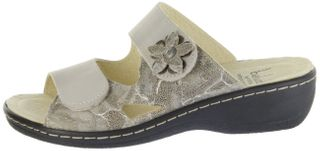 Belvida Wohlfühl-Pantoletten braun Leder Wechselfußbett rutschhemmende Sohle Klett Damen Schuhe 42.498 – Bild 2