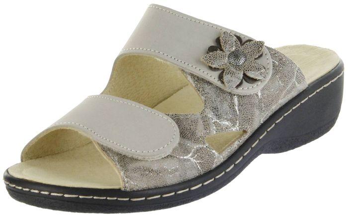 Belvida Wohlfühl-Pantoletten braun Leder Wechselfußbett rutschhemmende Sohle Klett Damen Schuhe 42.498