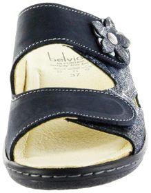 Belvida Wohlfühl-Pantoletten blau Leder Wechselfußbett rutschhemmende Sohle Klett Damen Schuhe 42.498 – Bild 6