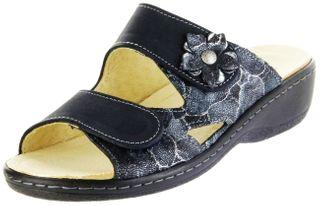 Belvida Wohlfühl-Pantoletten blau Leder Wechselfußbett rutschhemmende Sohle Klett Damen Schuhe 42.498 – Bild 1