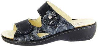 Belvida Wohlfühl-Pantoletten blau Leder Wechselfußbett rutschhemmende Sohle Klett Damen Schuhe 42.498 – Bild 2