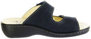 Belvida Wohlfühl-Pantoletten blau Leder Wechselfußbett rutschhemmende Sohle Klett Damen Schuhe 42.498 – Bild 5