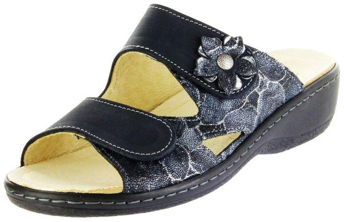 Belvida Wohlfühl-Pantoletten blau Leder Wechselfußbett rutschhemmende Sohle Klett Damen Schuhe 42.498