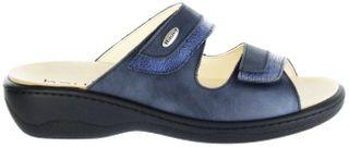 Hauer Wohlfühl-Pantoletten Damen blau Leder Wechselfußbett atmungsaktiv chromfrei rutschhemmende Sohle Klett 132481-465 LISA13 – Bild 2