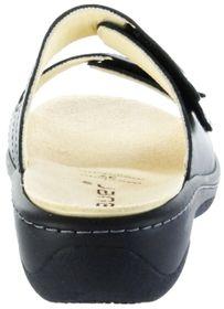 Hauer Wohlfühl-Pantoletten Damen schwarz Leder Wechselfußbett atmungsaktiv chromfrei rutschhemmende Sohle Klett 132481-869 LISA13 – Bild 3