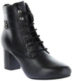 Bergheimer Trachtenschuhe Trachten Stiefelette schwarz Glattleder Damen Schuhe Uschi – Bild 1