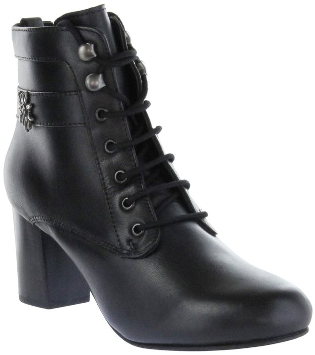 Bergheimer Trachtenschuhe Trachten Stiefelette schwarz Glattleder Damen Schuhe Uschi