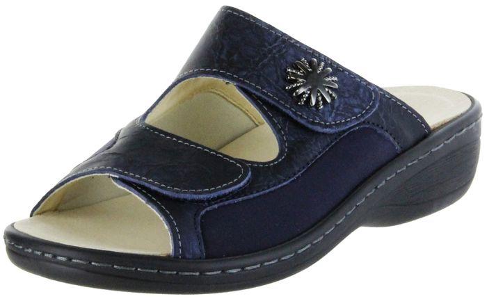 Belvida Wohlfühl-Pantoletten blau Leder Wechselfußbett rutschhemmende Sohle Hallux-Einsatz Damen Schuhe 10.300