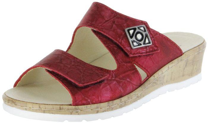 Belvida Wohlfühl-Pantoletten rot Leder Wechselfußbett rutschhemmende Sohle Klett Damen Schuhe 42.484