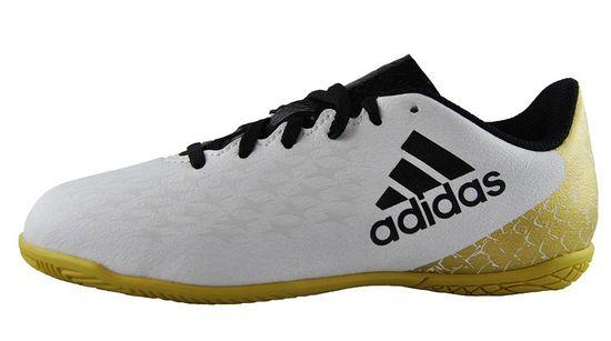 adidas X 16.4 IN J AQ4358 Weiß Gold Kinder Indoor Fußballschuhe