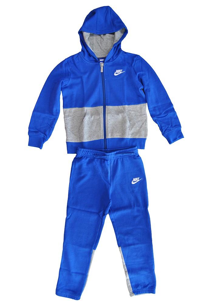 Nike Jungen Jogginganzug Blau Grau Kinder Kid's Freizeit Anzug 8UC001-U89