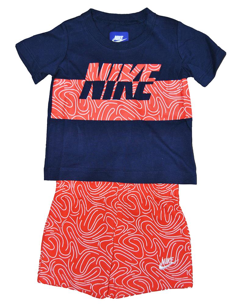 Nike Baby Sommer Anzug Kleidung Set 56B926-N22 Orange Blau