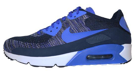 Nike Air Max 90 Ultra 2.0 Flyknit 875943-400 Blau Schwarz Weiß Sneaker