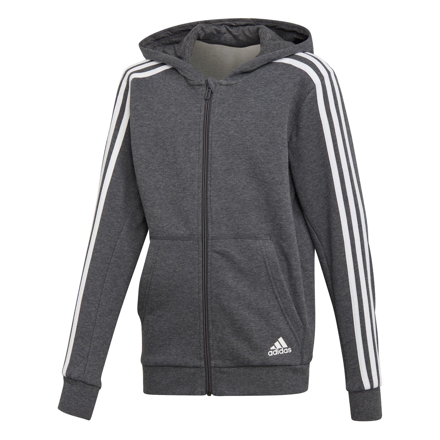 Details zu Adidas Essentials 3-Streifen Kapuzenjacke Kinder grau  Trainingsjacke ESS NEU