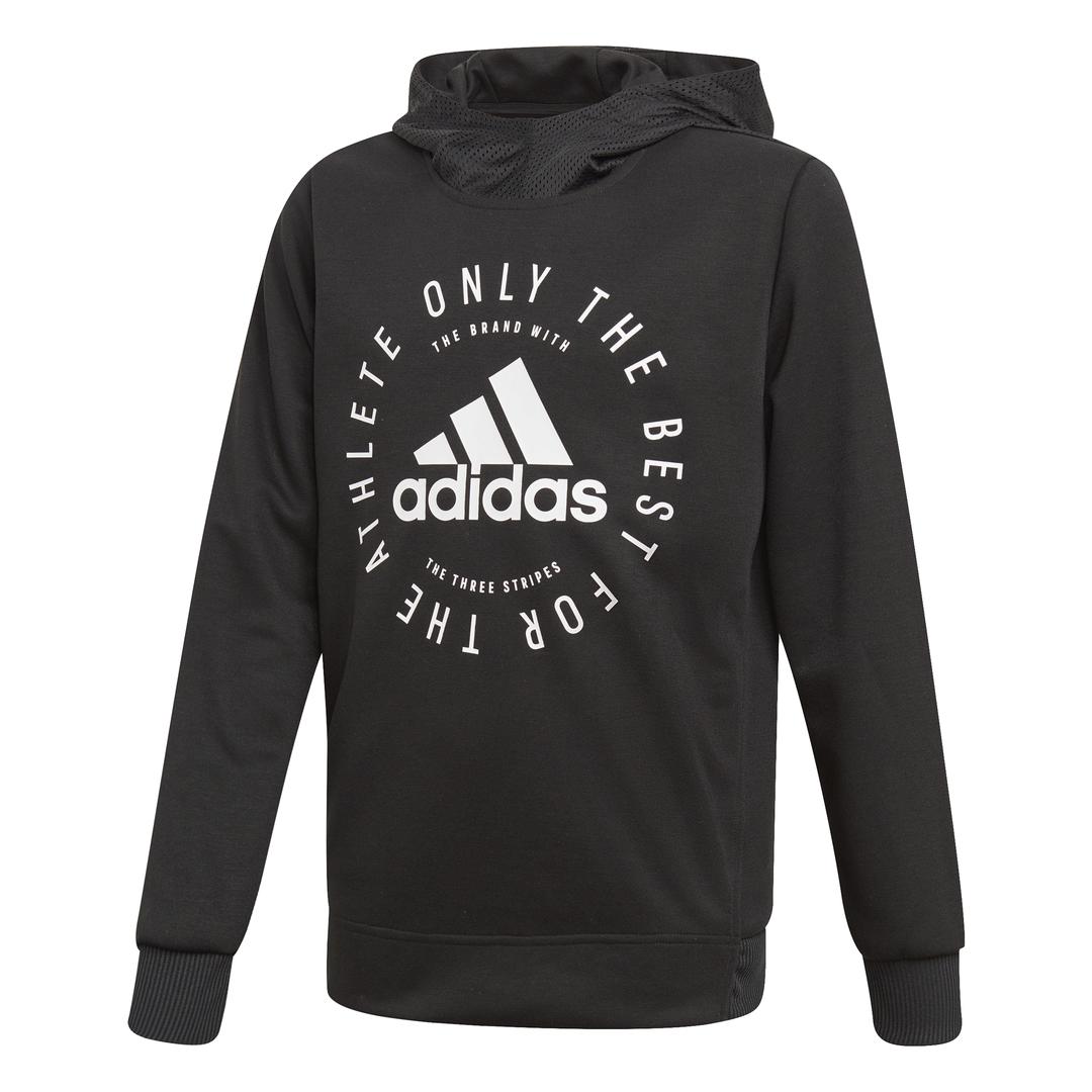 Details zu Adidas Sport ID Kapuzenpullover Kinder Hoodie Sweatshirt schwarz NEU