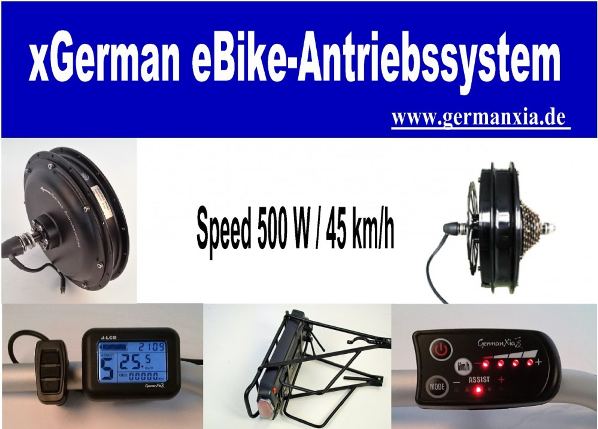 KONFIGURATOR xGerman Nachrüstsatz 500W/36V LED-Display, 45km/h, Nabenmotor-Antrieb