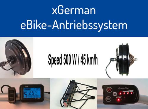 """xGerman Nachrüstsatz 500W/36V, 26"""" Vorderradantrieb mit LCD-Display & Trinkflaschen-Akku 11,6 Ah"""