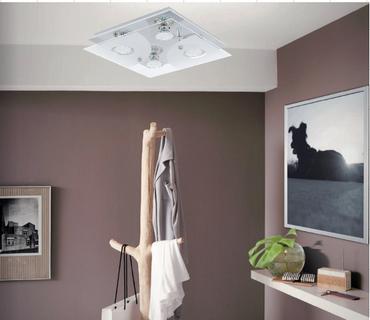 Neu LED Deckenleuchte Deckenlampe 4 Flammig Glas Chrom Eglo Lampe 75216