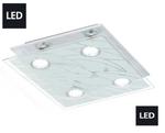 Neu LED Deckenleuchte Deckenlampe 4 Flammig Glas Chrom Eglo Lampe 13674 001
