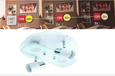 LED Deckenleuchte 3-Step Dimming Dimmbar Gu10 LED rund  Eglo 75367 weiß Lampe