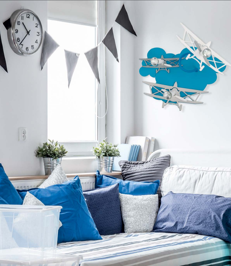 led deckenleuchte deckenlampe kinderzimmer lampe airplane iii blau 6904 ebay. Black Bedroom Furniture Sets. Home Design Ideas
