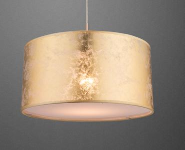 LED 6 Watt Decken Hänge Leuchte 40cm Hängelampe Stoff Pendel Lampe Textil gold 15187HL