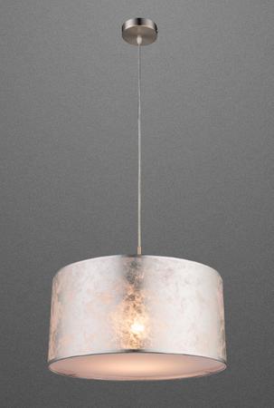 Decken Hänge Leuchte 40cm Hängelampe Stoff Pendel Lampe Textil Silber 15188H