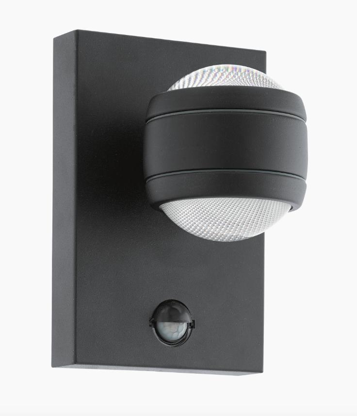 Led Wandlampe Schwarz Aussenlampe Aussenleuchte Mit Bewegungsmelder 96021 Eglo