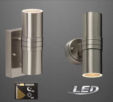 LED Aussenleuchte Sensor mit Dämmerungssensor UP & Down ohne Sensor Edelstahl