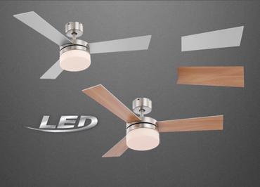 Vertilator Deckenventilaror Fernbedienung Lampe LED Beleuchtung Metall Buche / Silber 333