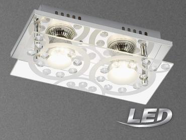 LED Deckenleuchte nickel chrom Spotbalken 2 Flammig Lampe Leuchte 3585-028