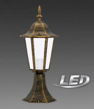 LED 6 Watt Aussenleuchte Aussenlampe Lampe Leuchte Braun Antik Sockellampe