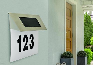 LED Solarleuchte Solarlampe Hausnummer Lampe Leuchte Aussenleuchte