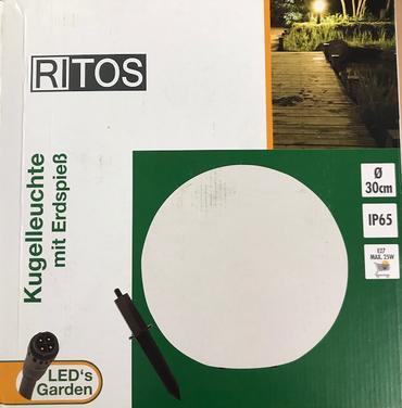 RITOS LEDs Garden Erdspieß Kugel weiß 30 cm 0087421112 Lampe Leuchte