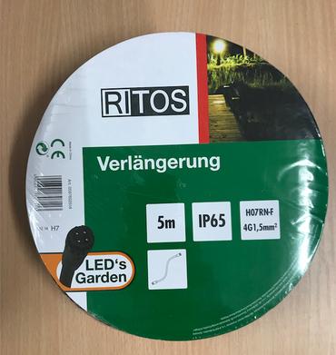 RITOS LEDs Garden Verlängerung Kabel 5 Meter Schwarz 0087602514