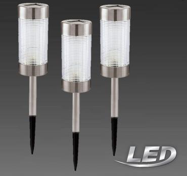 3er Set LED Solarleuchte 47169-3 Eglo Spieß Solar Standleuchte, Metall, Integriert, Edelstahl